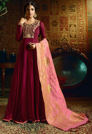 Embroidered Satin Gorgette Abaya Style Suit in Wine
