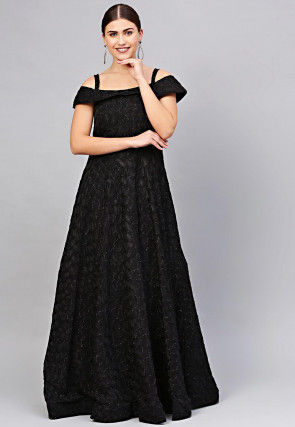Embroidered Satin Gown in Black