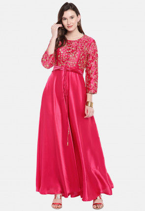 Embroidered Satin Gown in Fuchsia
