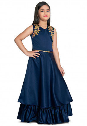 Embroidered Satin Gown in Navy Blue
