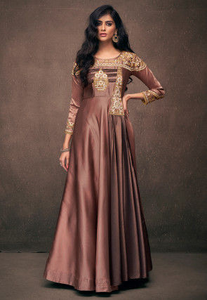 Embroidered Satin Gown in Rose Gold