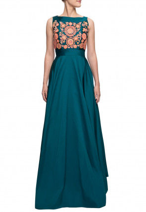 Embroidered Satin Gown in Teal Blue