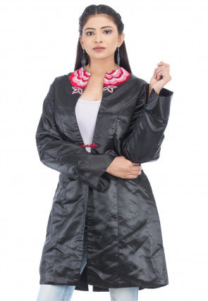 Embroidered Satin Jacket in Black