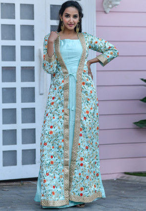 Embroidered Satin Jacket Style Abaya Suit in Sky Blue