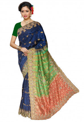 Embroidered Satin Jacquard Saree in Navy Blue