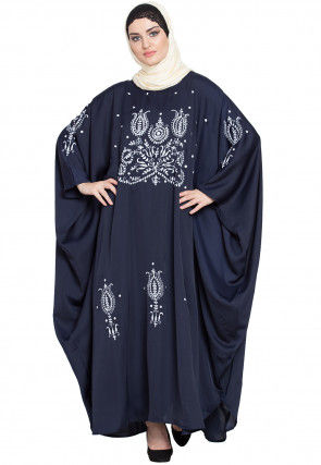 Embroidered Satin Kaftan in Navy Blue