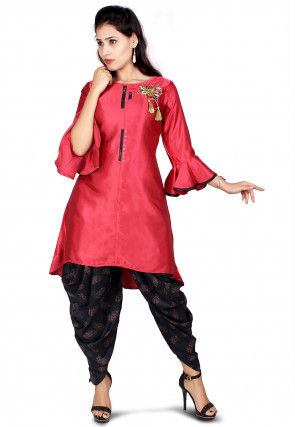 Embroidered Satin Kurti with Dhoti in Coral Pink and Black