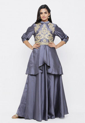Embroidered Satin Layered Gown in Grey