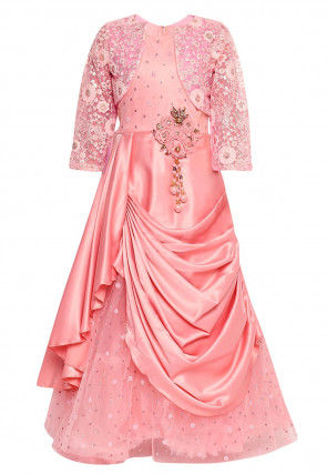 Embroidered Satin Layered Gown in Peach