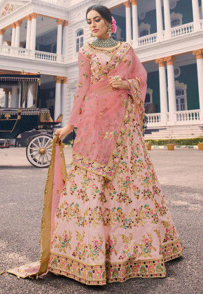 Embroidered Satin Lehenga in Baby Pink