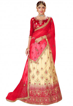 Embroidered Satin Lehenga in Beige and Red