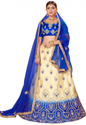 Embroidered Satin Lehenga in Beige and Royal Blue
