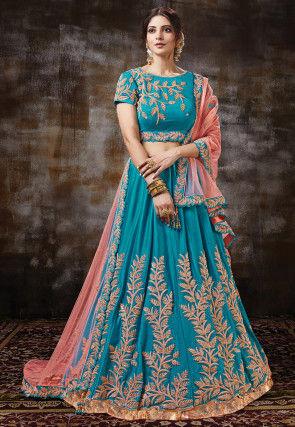 Embroidered Satin Lehenga in Blue