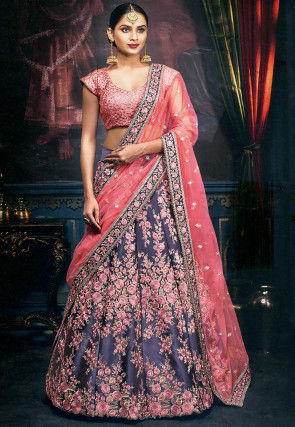Embroidered Satin Lehenga in Dark Blue
