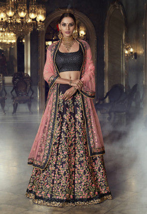 Embroidered Satin Lehenga in Dark Violet