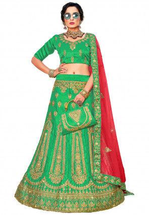 Embroidered Satin Lehenga in Green