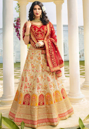 Embroidered Satin Lehenga in Light Beige