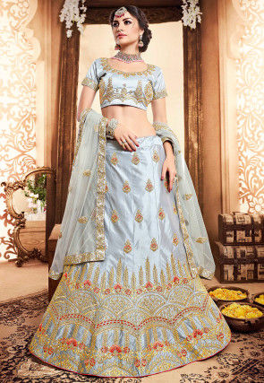 Embroidered Satin Lehenga in Light Grey