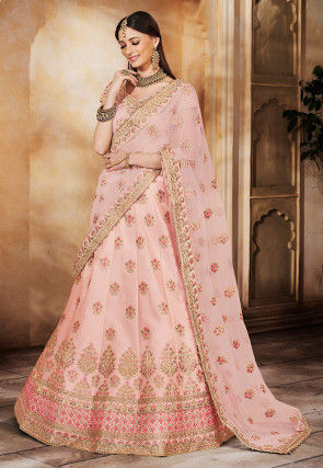 Embroidered Satin Lehenga in Light Peach