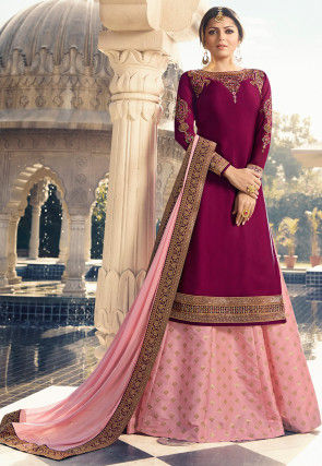 Embroidered Satin Lehenga in Magenta