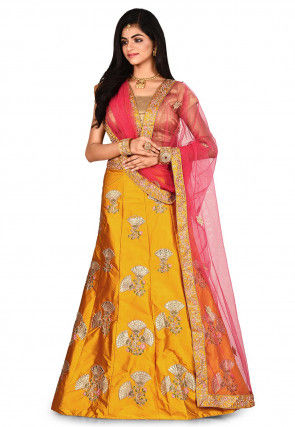 Embroidered Satin Lehenga in Mustard