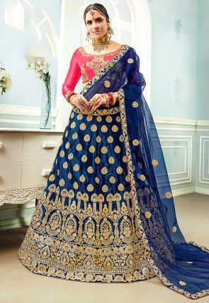 Embroidered Satin Lehenga in Navy Blue