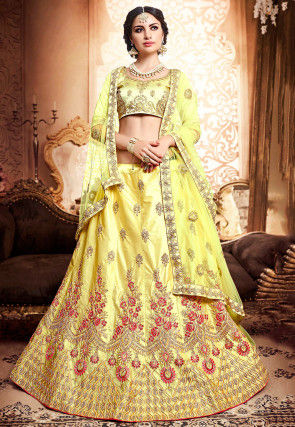 Embroidered Satin Lehenga in Pastel Yellow