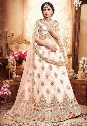 Embroidered Satin Lehenga in Peach