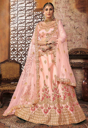Embroidered Satin Lehenga in Light Pink