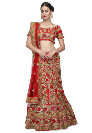 Embroidered Satin Lehenga in Pink and Red