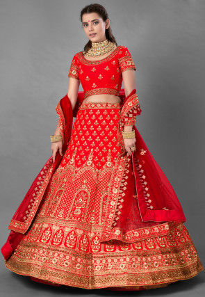 Embroidered Satin Lehenga in Red