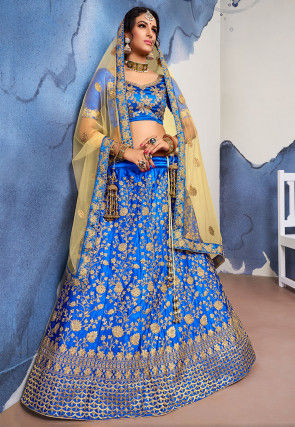 Embroidered Satin Lehenga in Royal Blue