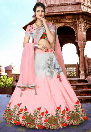 Embroidered Satin Lehenga in Shaded Peach and Grey