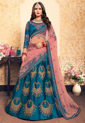 Embroidered Satin Lehenga in Teal Blue