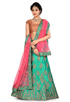 Embroidered Satin Lehenga in Teal Green