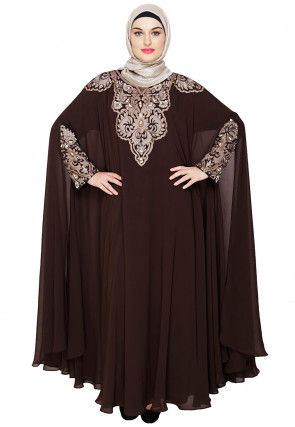 Embroidered Satin Nida Cape Style Kaftan in Brown