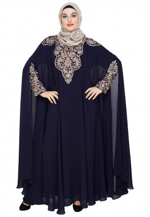 Embroidered Satin Nida Cape Style Kaftan in Dark Blue