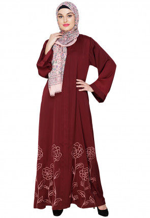 Embroidered Satin Nida Dubai Style Abaya in Wine