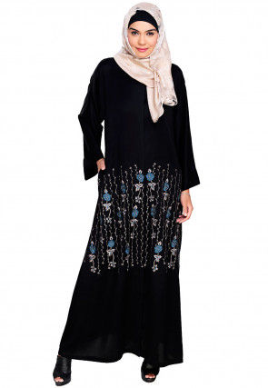 Embroidered Satin Nida Front Open Dubai Style Abaya in Black