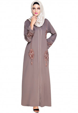 Embroidered Satin Nida Front Open Dubai Style Abaya in Fawn