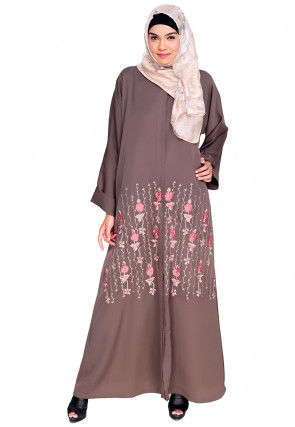 Embroidered Satin Nida Front Open Dubai Style Abaya in Lilac