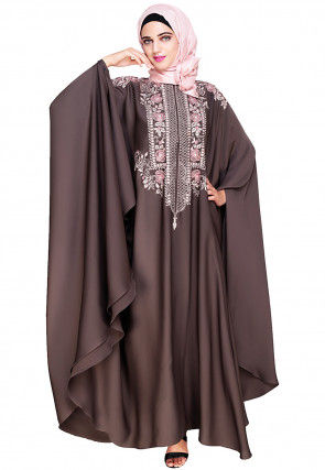 Embroidered Satin Nida Front Zipper Open Kaftan in Dark Grey