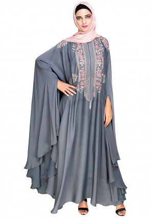 Embroidered Satin Nida Front Zipper Open Kaftan in Dusty Blue
