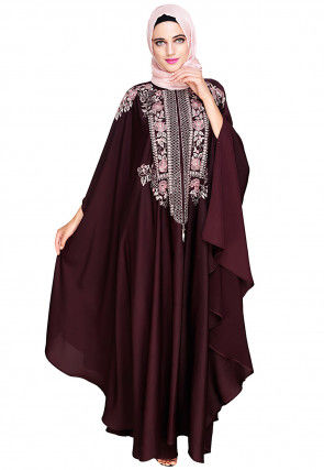 Embroidered Satin Nida Front Zipper Open Kaftan in Wine Red