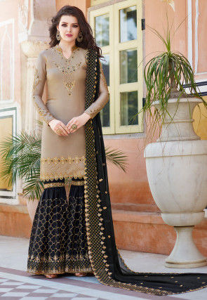 Embroidered Satin Pakistani Suit in Beige