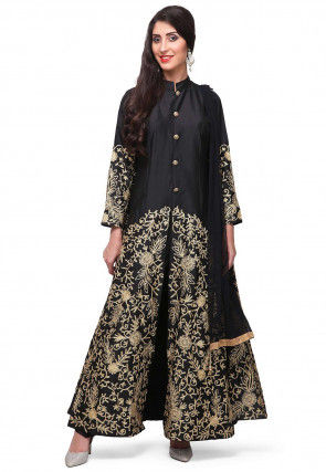 Embroidered Satin Pakistani Suit in Black