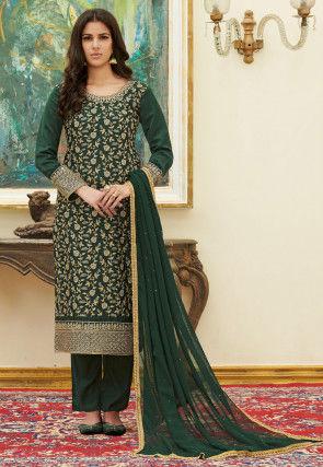 Embroidered Satin Pakistani Suit in Dark Green