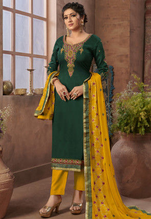 Embroidered Satin Pakistani Suit in Dark Teal Green