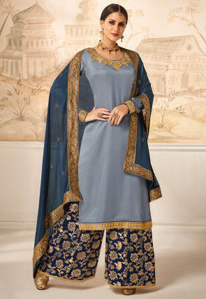 Embroidered Satin Pakistani Suit in Dusty Blue