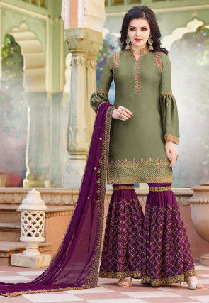 Embroidered Satin Pakistani Suit in Dusty Green